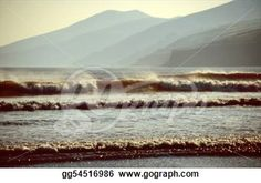"""Beach With Waves At Sunset"" - Beach Stock Photo from Go Graph"