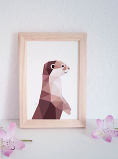 Otter print Otter illustration Cute otter by tinykiwiPrints