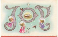 Mid-Century Vintage Christmas Card - Angels and Baby Jesus