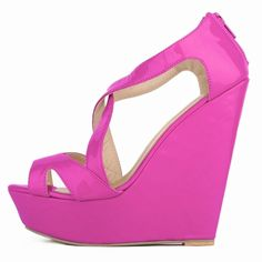 HooH Women's Peep Toe Hollow Out Corss Candy Color Platform Wedge Pump Sabdals * Check this awesome product by going to the link at the image.