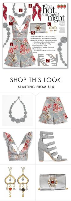 """""""Hot summer night"""" by crochetnecklaces ❤ liked on Polyvore featuring Zimmermann, Sam Edelman, Sophie Harley London, Miu Miu, Yves Saint Laurent, Summer, floral, romantic, NightOut and feminine"""