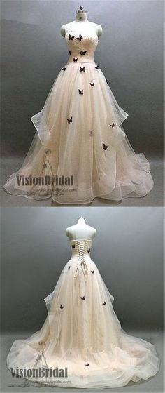 Ivory Sweetheart Ruffle Prom Dress, Beautiful Butterfly Appliques Lace Up Prom Dress, Prom Dresses, VB0249 #promdress