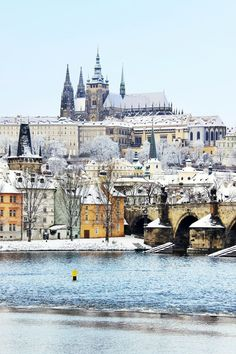 Romantic Snowy Prague gothic Castle with the Charles Bridge, Czech Republic. I want to go back!