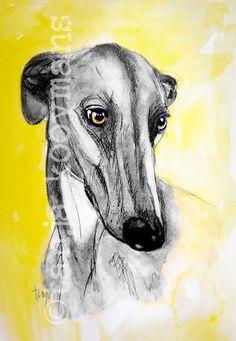 Greyhound / Galgo Espanol Greyhound art Dogart by Tanja Kooymans