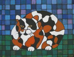 """""""Cubist Calico Cat"""" 14""""x18""""  acrylic on stretched canvas $59.99 ppd to lower 48. Paypal"""