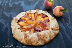 This peach galette is an easy desert and, it's fun to make. The pastry crust is flaky, crisp and perfect topped with a beautiful spread of juicy peaches. Easy Crust Recipe, Peach Galette Recipe, Plums And Peaches, Delicious Desserts, Dessert Recipes, Peach Cake, Juicy Fruit, How Sweet Eats, Food Processor Recipes