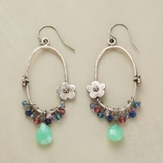 "SWEET NECTAR EARRINGS -- Handcrafted sterling silver oval hoops, oxidized and brushed, are adorned with sterling flowers, chrysoprase drops and iolite, garnet, tourmaline, lapis and labradorite beads. Exclusive. Approx. 2-1/2""L"