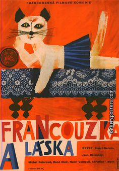 LOVE AND THE FRENCHWOMAN (La Française et l'amour) by Henri Decoin (France) - Czech film poster by Jiří Hilmar, 1961