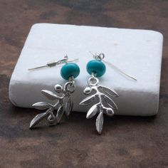 Olive Branch Earrings Sterling Silver with Blue by GreekMythos