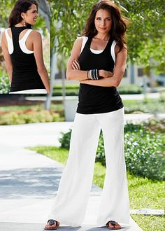 Black and white double layer tank paired with white luna linen sailor pant