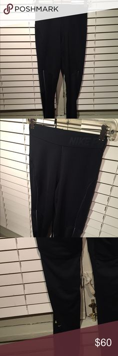 NIKE Pro Dri Fit Pants with green logo Cute workout pants with neon green Nike logo  Previously worn with no damages  Bundle for discount or make an offer! Nike Pants Track Pants & Joggers