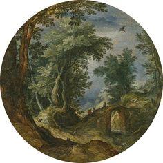 Jan Brueghel The Elder Brussels 1568 - 1625 Antwerp A Wooded Landscape With Figures Crossing A Bridge Oil On Oak Panel, Circular Diameter: 21.6 Cm.; 8 1/2 In.
