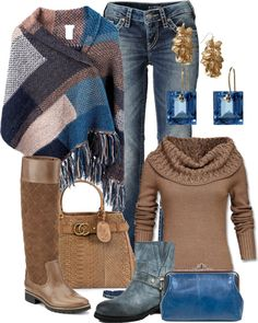 """""""Untitled #804"""" by bennaob on Polyvore ~ love the colors...not crazy about the brown boots myself...I would choose the blue ones. Love both pairs of earrings."""