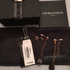 Emporio Armani earnings Beautiful ceramica and stainless steel earnings. All original tags, box - only tried on a few times. Will look good with light hear colors. Emporio Armani Jewelry Earrings