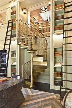 library-loft space-winding staircase- gold