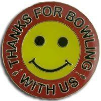 Thanks Smiley Lapel Pin by Bowling Delights. $4.45. Thanks for Bowling With Us! Smiley Face Goldtone Lapel Pin. Great way to welcome guests!