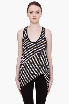 Proenza Schouler Sprial Tank Top. Inspiration for tank to piece together and sew with striped fabric. For summer.