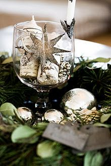 Wreath - Christmas Bulbs in center.  Glass Centerpiece.