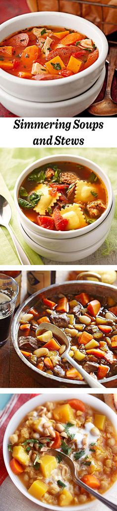 Soups that will warm cool fall and winter nights! See recipes: http://www.midwestliving.com/food/soups/simmering-soups-stews-recipes/?page=0