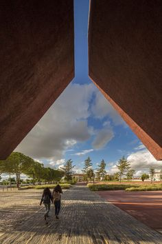 Red concrete visitor centre by architect Gonçalo Byrne, tells the story of the Battle of Atoleiros , Portugal