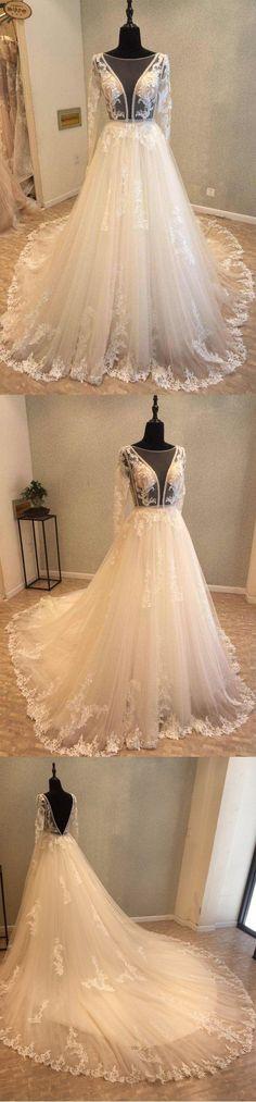 Beautiful Long Sleeves V Back Tulle Applique Affordable Long Wedding Dress, WG1204 #wedding #weddingdress #bridaldress