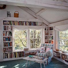 Book shelves around the window.This one is the best of all.  Love