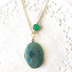 Vintage Locket Necklace Teal Turquoise Wedding Oval Locket Necklace by Jewelsalem