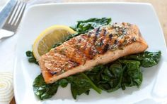 Grilled Salmon with Basil Lemon Butter // AMAZING! #summer #seafood #recipe #grill
