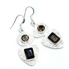 Seductive Sterling Silver Smoky Quartz Dangle Earrings