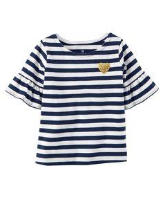 Toddler Girl Bell-Sleeve Striped Shirt   Carters.com
