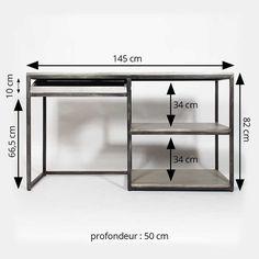 Bureau industriel métal gris et bois blanchi  |  IF598