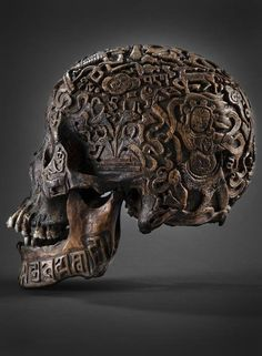 Skull with carvings