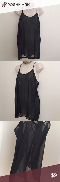 """Forever 21 Long Sheer Black Camisole Forever 21 Long Sheer Black Camisole Lightweight & loose fitting Size: Medium  Chest 19"""" across Sideseam 18"""" long  Total length 29"""" +/-  Slightly longer in the back. Adjustable spaghetti straps 100% polyester  Hand or machine wash on gentle cycle No flaws.  If you wanted to give the top a little extra style, the  spaghetti straps are long enough on the back that you could to cut them, criss cross or braid & tie. Or add some beads. Please message me with…"""