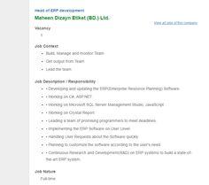 Maheen Dizayn Etiket (BD.) Ltd - Head of ERP development - Jobs Circular | VACANCY