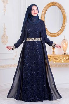 NEVA STYLE - NAVY BLUE HIJAB EVENING DRESS 25717L Muslim Evening Dresses, Hijab Evening Dress, Muslim Wedding Dresses, Hijab Dress, Evening Gowns, Dress Outfits, Fashion Outfits, Abaya Fashion, Grey Fashion