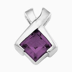 Platinum Princess Cut Amethyst Pendant Gems-is-Me. $689.80. FREE PRIORITY SHIPPING. This item will be gift wrapped in a beautiful gift bag. In addition, a 'gift message' can be added.