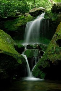Lower Grotto Falls, Great Smoky Mountain National Park, straddling the border of Tennessee & North Carolina by ola