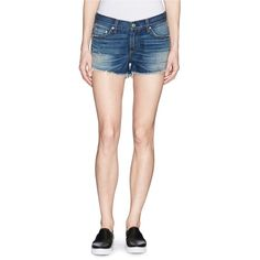 Rag & bone/jean 'Cut-off' cotton denim shorts ($180) ❤ liked on Polyvore featuring shorts, blue, destroyed jean shorts, jean cutoff shorts, cut off denim shorts, destroyed denim shorts and cut-off