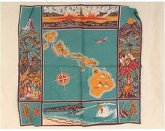 August 21, 1959: President Dwight D. Eisenhower signs an executive order to proclaim Hawaii the 50th state of the union.  Cotton Kerchief, 1938, Gift of Mrs. Ripley Hitchock, NYHS Object Number Z.1164.