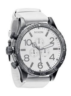 cool Nixon 51-30 Chrono Leather Watch Gunmetal/White, One Size  –  White