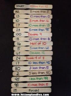 Classroom DIY: DIY Mental Math Game 1 more/less 10 more/less Math facts Greater than/ less than Counting by Also ELA change beginning / middle /end sound Maths Guidés, Math Classroom, Fun Math, Teaching Math, Math Work, Mental Maths Games, Easy Math, Math 2, Kindergarten Math