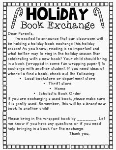 Holiday Book Exchange: love this idea so much more than the usual filling stockings with little things! Classroom Fun, Classroom Activities, Future Classroom, Holiday Classrooms, Preschool Bulletin, Preschool Ideas, Holidays Around The World, Preschool Christmas, Room Mom