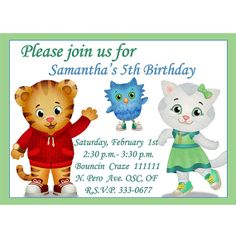 Daniel Tiger's Neighborhood - Digital Birthday Party Invitation - PRINTABLE