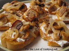 Caramelized Onion and Mushroom Crostini