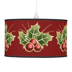 Shining Holly Berry Christmas pattern Hanging Lamp