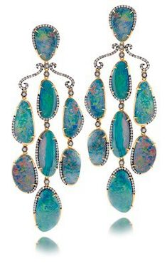 Opal Earrings...From the Greek word Opallos-meaning to see changes of color. Opal is a precious gemstone and these earrings are drop dead gorgeous available at Desires by Mikolay 914.238.2223