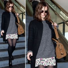 Keira Knightley styled a sweet floral-print skirt with cozy separates: a gray sweater, black coat, and black booties. Estilo Keira Knightley, Keira Knightley Style, Fall Winter Outfits, Winter Fashion, Pull Gris, Floral Print Skirt, Floral Skirts, Winter Stil, Street Style