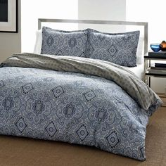 City Scene Milan Blue Cotton 3-piece Duvet Cover Set | Overstock™ Shopping - Great Deals on City Scene Duvet Covers