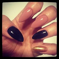 Nude black and gold nails