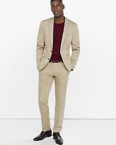 Skinny Innovator Cotton Sateen Khaki Suit